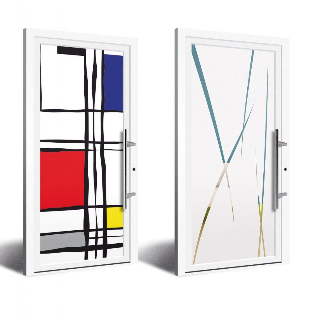 Porte d'entrée vitrée en PVC